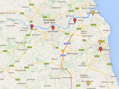 map of North East Podiatry locations